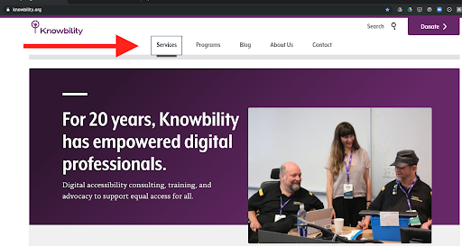 A screenshot of the knowbility.org website with a large red arrow pointing at the focused Services button on the menu.
