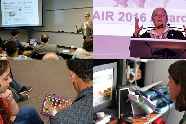 Several images of past participants of the AIR competition engaging in a variety of activities on computers, speaking, and learning.