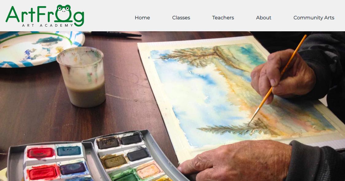 screenshot of the ArtFrog Art Academy website homepage
