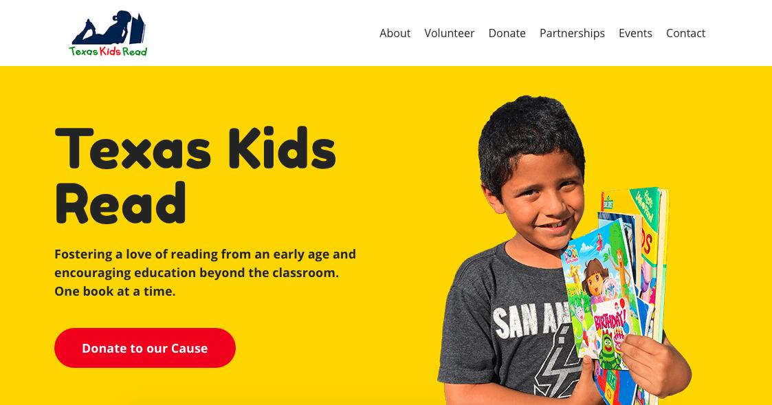 screenshot of the Texas Kids Read website homepage