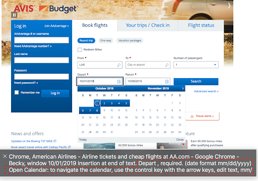 Airline flight booking form showing datepicker for selecting dates.