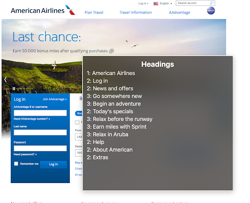 A visual display of the headings used on the airline web site.