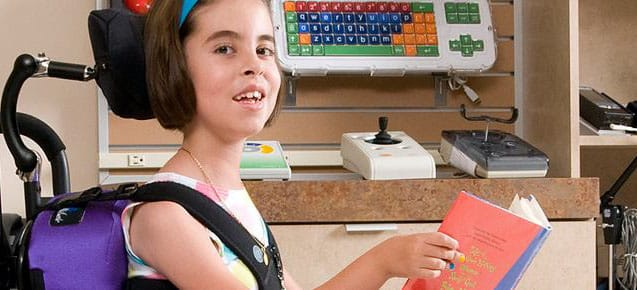 Girl Using Assistive Technology
